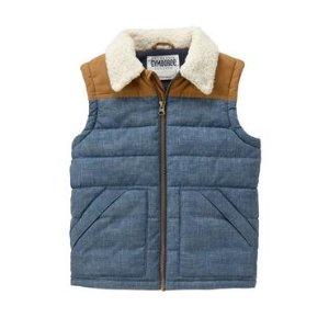 Boys Cozy Denim Puffer Vest by Gymboree