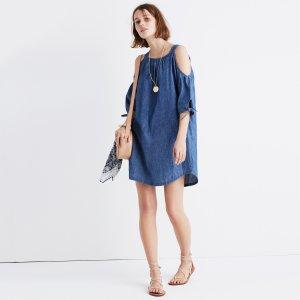 Chambray Cold-Shoulder Dress