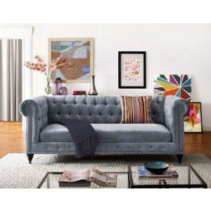 Lumine Velvet Sofa, Gray