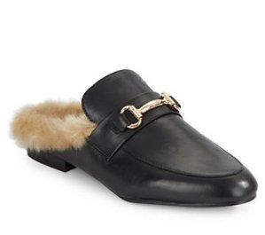 Steve Madden Jill Leather and Faux Fur Mules @ Lord & Taylor