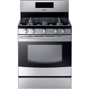 Samsung 30 in. 5.8 cu. ft. Gas Range with Self-Cleaning Oven and 5 Burner Cooktop with Griddle in Stainless Steel-NX58F5500SS - The Home Depot