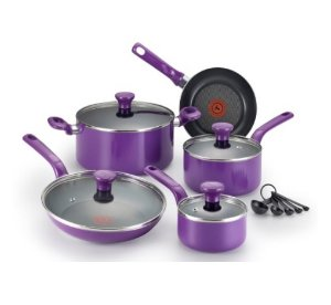 $45.50 T-fal Excite Nonstick Thermo-Spot Dishwasher Safe Oven Safe PFOA Free Cookware Set, 14-Piece