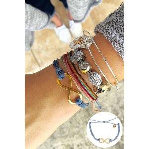 Pura Vida Gold Infinity Bracelet in Columbia Blue