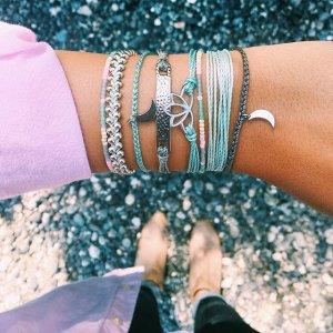 Silver Bitty Moon Seafoam | Pura Vida Bracelets