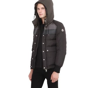 MONCLER - WILMS NYLON & FLANNEL DOWN JACKET