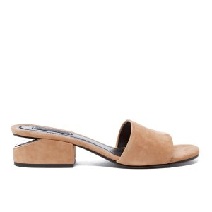 Alexander Wang Women's Lou Suede Heeled Slide Sandals - Clay - Free UK Delivery over £50