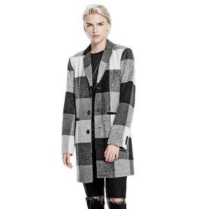 Onyx Check Longline Coat | GUESS.com