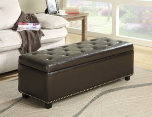 Simpli Home Hamilton Rectangular Storage Ottoman Bench, Large, Coffee Brown