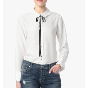 SCALLOPED BLOUSE WITH BOW TIE 衬衣