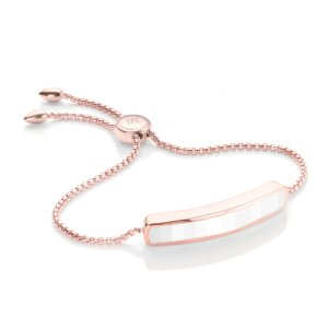 Baja Bracelet in 18ct Rose Gold Vermeil on Sterling Silver with White Chalcedony | Jewellery by Monica Vinader