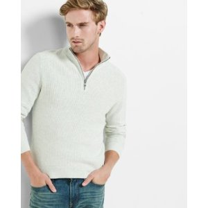 Ribbed Zip Cotton Mock Neck Moto Sweater
