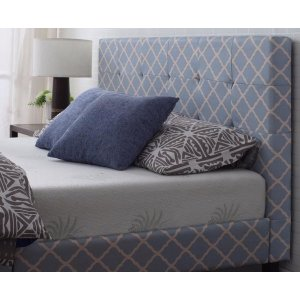 Classic Deluxe Blue Linen Low Profile Platform Bed Frame with Tufted H - Sofamania