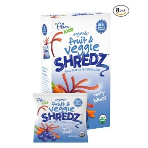 Prime members save 20% Plum Kids Organic Fruit and Veggie Shredz, Rooty Blues, 5-Count (Pack of 8)