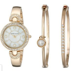 $49.99 Anne Klein Women's AK/1960GBST Swarovski Crystal-Accented Gold-Tone Bangle Watch and Bracelet Set