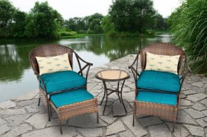 $247 Mainstays 5-Piece Skylar Glen Outdoor Leisure Set, Blue, Seats 2