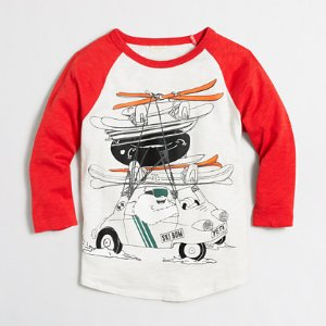 Boys' three-quarter sleeve yeti driving with skiis storybook T-shirt : storybook t-shirts | J.Crew Factory