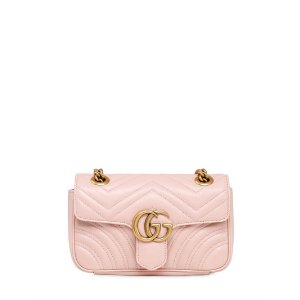 GUCCI - MINI GG MARMONT 2.0 QUILTED LEATHER BAG - SHOULDER BAGS - LIGHT PINK - LUISAVIAROMA