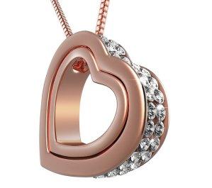 UHIBROS Women's Double Heart Shape Inlay Austrian Crystal Pendant Necklace