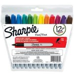 Sharpie Permanent Markers, Fine Point, Re-Sealable Pouch, 12-Count