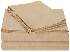AmazonBasics Lightweight 200 Thread Count Sheet Set - Full, Sand