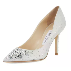 Jimmy Choo Agnes Crystal 85mm Pump, White/Crystal