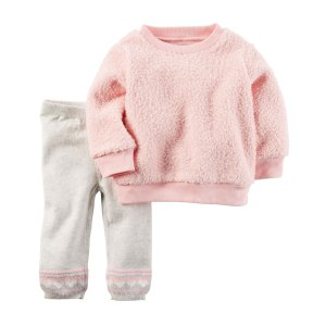 Baby Girl 2-Piece Sherpa Top & Sweater Pant Set | Carters.com
