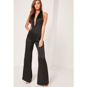 Black Silky Halterneck Jumpsuit - Missguided