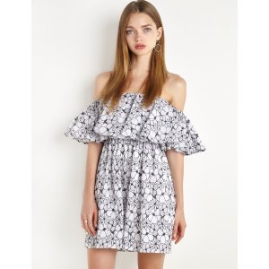 Floral Cotton Lace Off The Shoulder Dress by New Revival