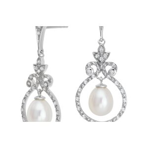 Vintage-Inspired Freshwater Cultured Pearl and White Topaz Chandelier Earrings in Sterling Silver (6mm) | Blue Nile