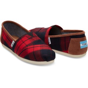 Red and Black Plaid Woven Women's Classics