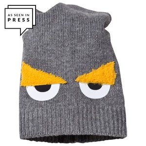 Fendi Grey Monster Eye Applique Beanie Hat | AlexandAlexa