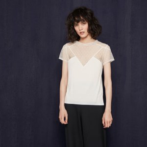 TRIBOR T-shirt with dotted Swiss details - T-shirts - Maje.com