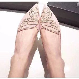 Sophia Webster Bibi Butterfly-Embroidered Metallic Leather Flats