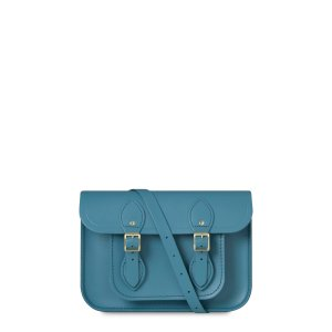 Costal Blue 11 inch Satchel with Magnetic Closure | Cambridge Satchel