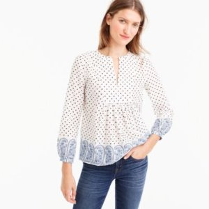 Popover top in polka-dot paisley print : Women tops & blouses | J.Crew