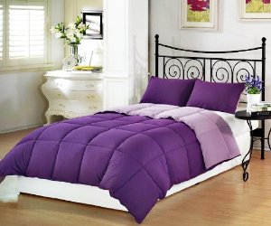 Lowest price! $29.99 Chezmoi Collection 3-Piece Purple Lilac Super Soft Goose Down Alternative Reversible Comforter Set, Queen/Full Size