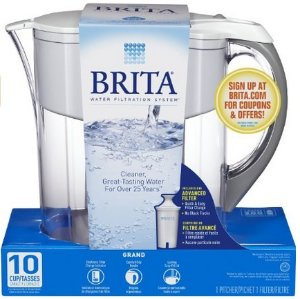 $23.49 Brita 10 Cup Grand Water Pitcher with 1 Filter, BPA Free, White