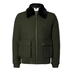 Khaki Wool Mix Flight Jacket - Men's Coats & Jackets - Clothing - TOPMAN USA