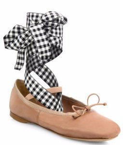 Up to $200 Off Miu Miu Leather Lace-Up Ballet Flats @ Saks Fifth Avenue