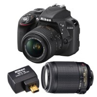 Nikon Refurbished D3300 24.2MP DSLR + 18-55 VR II Lenses + WiFi Adapter Kit