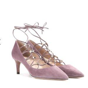 VALENTINO Rockstud suede lace-up pumps
