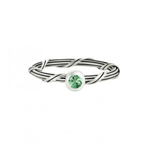 Ribbon and Reed Signature Romance Emerald Ring in sterling silver