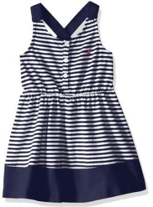 From $8.1 Nautica Girls' Ministripe Dress with Piecing Detail