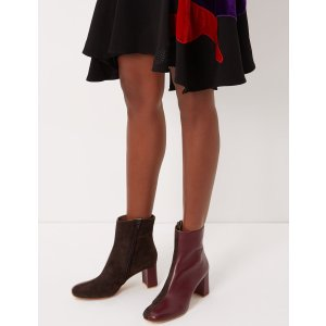 Burgundy & Chocolate Leather Agnes Split Boots | Maryam Nassir Zadeh | Avenue32