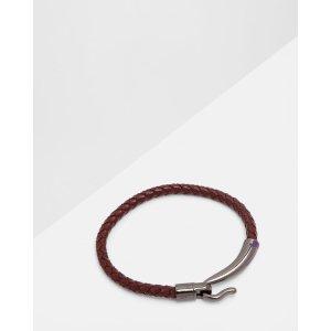 Woven leather bracelet - Dark Red