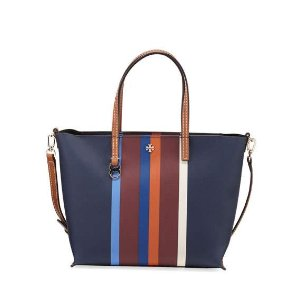 Tory Burch Kerrington Small Striped Square Tote Bag, Multi Center Stripe