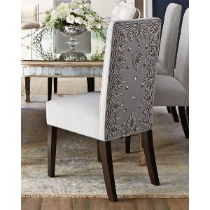 John-Richard Collection Eliza Dining Table, Silver Caramel Dining Chair, & Margo Tufted Banquette