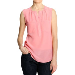 Gathered Silk Tank in Pink from Joe Fresh