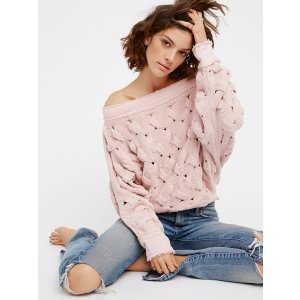 Ivory Desert Sands Cable Pullover at Free People Clothing Boutique