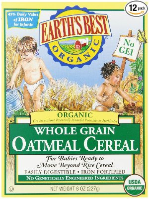 $19.68 + Free ShippingEarth's Best Organic, Whole Grain Oatmeal Cereal, 8 Ounce (Pack of 12)